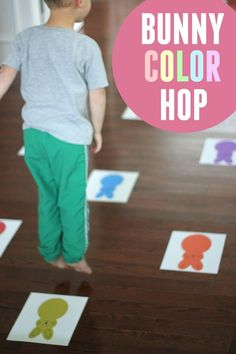 A movement game for Easter activities for kids party games Bunny Color Hop for Toddlers and Preschoolers Easter Activities For Preschool, Spring Activities, Easter Crafts For Kids, Toddler Preschool, Toddler Activities, Easter Games For Kids, Color Activities For Toddlers, Toddler Games, Preschool Science