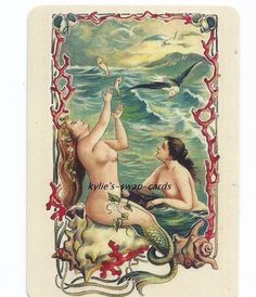 SD35 SINGLE swap playing cards PRETTY MERMAIDS RISQUE GIRLS LADIES ocean scene