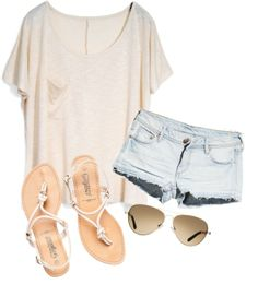 casual summer outfit sunglasses | t-shirt |denim shorts | sandals