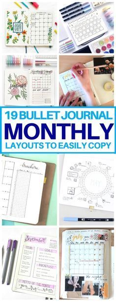This is EXACTLY what I needed! A list of bullet journal monthly spread ideas for inspiration. Cannot wait to try these bujo layouts next month. #bulletjournal #monthlyspreads