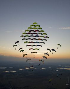 A complex parachuting structure made in an international competition.