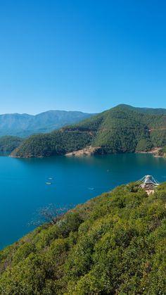 Lake Island Mountain Sky Top View #iPhone #6 #plus #wallpaper