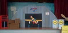 "Flight School vbs, amazing wonders aviation, vacation Bible school, stage set decoration props made mostly from 3/8"" fanfold insulation board...cheap and easy to paint.  Very lightweight."
