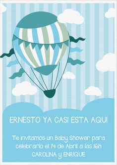 Hot Air Balloon Themed Baby Shower Invitations - Collection Of Unique Invitation Sentences Baby Shower Balloons, Baby Shower Themes, Baby Boy Shower, Travel Baby Showers, Star Baby Showers, Balloon Invitation, Invitations, Baby Shower Souvenir, Diy Hot Air Balloons