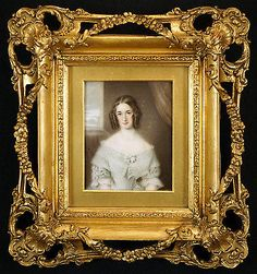 Splendid Signed c.1844 Portrait Miniature of a Young Lady in a Carved Gilt Frame