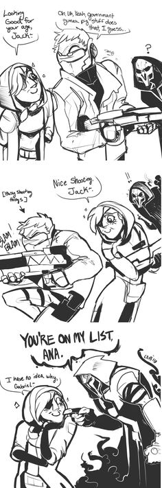 Jack is oblivious to Ana Flirting with him. Reaper on the other hand, is not and puts Ana on his hit list of 'people who try to get MY jacks attention'.  A.K.A  where reaper is jealous that Senpai is not giving him attention!