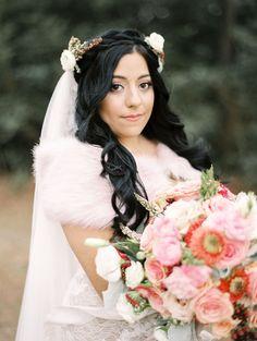 Fur and floral bridal look| Image by Leighanne Herr