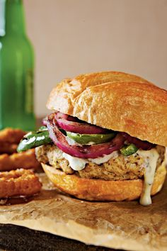 25 Chicken Burgers We're Crazy About   All of the flavor, less of the greasy guilt. Sometimes you're just craving a burger, but want a healthier version that doesn't sacrifice the juicy, delicious taste. Turkey burgers are often suggested as a healthy substitute for your favorite greasy sandwich, but we think that chicken burgers deserve some more attention. Ground chicken can be your secret weapon to flavorful, yet lean burgers perfect for quick and easy weeknight dinners.