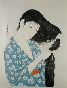 "Portraits de Bijin/で びじん Portraits in Beauty (Beautiful Women FRENCH ""Belles Femmes"") Goyo Hashiguchi YOUNG GIRL STYLING HAIR FRENCH Jeune fille se coiffant (1920) -Goyo Hashiguchi born Hashiguchi Kiyoshi December 21, 1880 – (died February 24, 1921) was an artist in Japan.The name Goyo was chosen because of his fondness for the five needle pine in his father's garden."