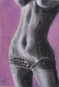 Female nudity Sexy illustration oil pastel by svetlanamatevosjan