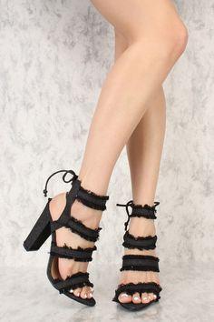 89d107888de Black Distressed Frayed Denim Open Toe Back Lace Up Chunky High Heels
