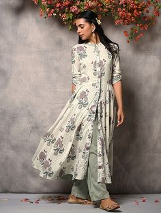 Ivory-Purple Printed Flared Cotton Kurta with Zari Top-stitch Simple Pakistani Dresses, Simple Dresses, Indian Dresses, Indian Outfits, Kurta Designs Women, Salwar Designs, Dress Outfits, Fashion Dresses, Kurta Patterns