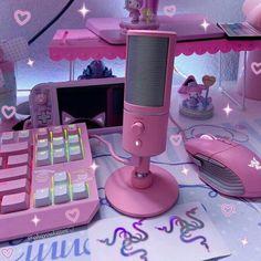 Gamer Setup, Gaming Room Setup, Pc Setup, Gaming Rooms, Cute Room Ideas, Cute Room Decor, Girl Bedroom Designs, Room Ideas Bedroom, Pink Games