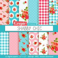 Shabby chic digital paper SHABBY CHIC with roses gingham and polkadots #scrapbooking