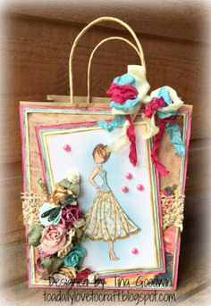 Toadally Love To Craft: Altered Paper Bag and Prima Doll Tag … Paper Bag Books, Paper Bag Crafts, Paper Gift Bags, Diy Crafts, Prima Paper Dolls, Prima Doll Stamps, Decorated Gift Bags, Scrapbook Box, Recycled Gifts