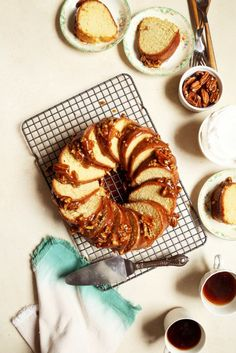 Vanilla Bean Bundt Cake with Pecan Praline Glaze  //  joy the baker