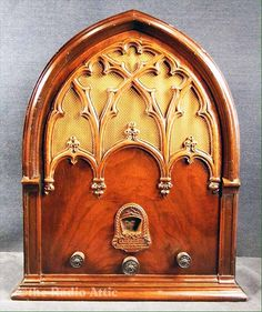 This is one of the most distinctive cathedral radios ever made. The company made a series of repwood grille models, casting the ornate grille