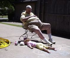 Bad Family Photos Sleeping on Driveway