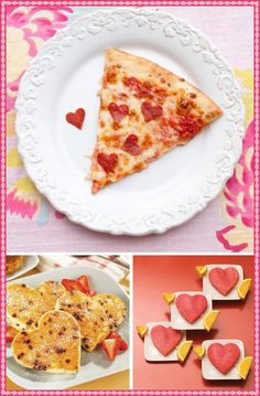 Idea for Valentine's Day- heart shaped pepperonis. Could put them on mini heart shaped pizzas or let the kids build their own.