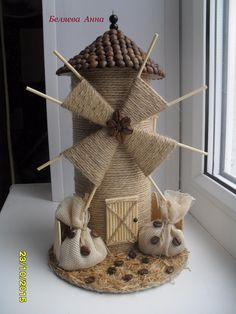 22 Awesome Ideas- How to make your own Fairy Garden Jute Crafts, Diy Home Crafts, Crafts For Kids, Arts And Crafts, Paper Crafts, Art N Craft, Craft Stick Crafts, Diy Art, Windmill Diy