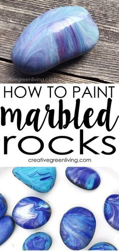 This is a great DIY painting technique for making marbled stones or kindness rocks - no more messy nail polish marbling required! #ad