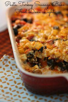 Pasta Turkey Sauasge Bake Food Done Light #pastarecipe #halloweenrecipe #bakedpasta #turkeysausagerecipe #healthycasserole