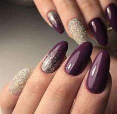 Color purple Trendy Manicure Ideas In Fall Nail Colors;Purple Nails; Trendy Manicure Ideas In Fall Nail Colors;Purple Nails; Plum Nails, Dark Nails, Dark Purple Nails, Dark Ombre, Purple Hues, Purple Manicure, Orange Nails, Two Tone Nails, Uñas Fashion