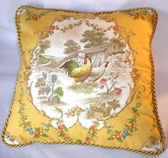 Country French Cottage Rooster Pillow Provence Yellow Ivory Toile Hens.