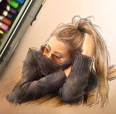 Fashion Design Sketchbook, Fashion Sketches, Art Sketches, Fashion Illustrations, Love Fashion, Fashion Art, Artist Fashion, Girly Drawings, Illustration Mode