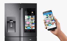 This fridge does a lot more than just keep your food cold. Samsung's upgraded fridge introduced voice activation, TV mirroring, and WIFI.