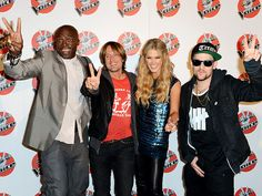 The Voice Australia coaches Seal, Keith Urban, Delta Goodrem and Joel Madden rally to promote their June 18th season finale Tuesday in Sydney