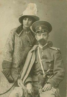 Portrait of a Russian lieutenant cavalier and a woman, Skobelev, 1907