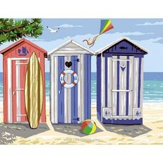 Seaside Pictures, Beach Images, Colorful Pictures, Seaside Art, Seaside Decor, Beach Watercolor, Watercolor Paintings, Beach Huts Art, Potted Mums