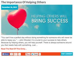 """""""You can't live a perfect day without doing something for someone who will never be able to repay you."""" — John Wooden - NEW BLOG POST ALERT! The Importance of Helping Others: http://katielendel.com/importance-helping-others/"""