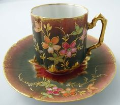 Victorian Antique Limoges Chocolate Cup & Saucer
