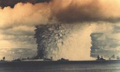 Operation Crossroads, an early nuclear test at Bikini Atoll, Image via U. Department of Energy. Bomba Nuclear, Nuclear Test, Nuclear Bomb, Nuclear Energy, Operation Crossroads, Mushroom Cloud, E Mc2, Bikini, Countries Of The World