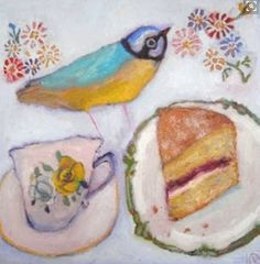 the art room plant: Vanessa Cooper II Paintings I Love, Art Paintings, Food Illustrations, Illustration Art, Vanessa Cooper, Still Life Art, Naive Art, Whimsical Art, Bird Art