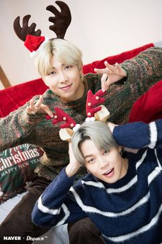 BTS RM & Jimin Christmas photoshoot by Naver x Dispatch ///// Taehyung, Foto Bts, Bts Bangtan Boy, Bts Jimin, Bts Namjoon, Seokjin, K Pop, Bts Dispatch, Bts Christmas