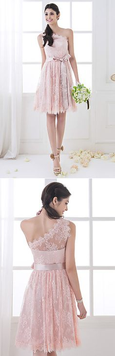 A-line One Shoulder Knee-length Lace Bridesmaid Dress