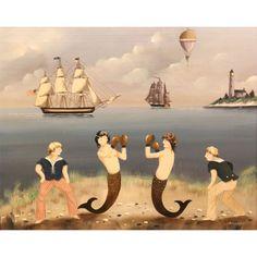 Ralph E Cahoon: Seaside Sparring Primitive Painting, Vintage Pictures, Sirens, Mermaids, Seaside, Folk Art, Whale, Nautical, Cape Cod