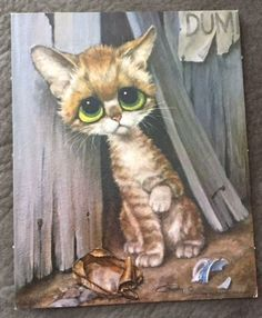 Vintage Pity Kitty Cat Print Gig Painting Keane Style Big Eyes Mid Century Art★♥★ I used to have a set of these. Cute Puppies And Kittens, Cats And Kittens, Cute Cats, Big Eyed Animals, Image Foto, Cats With Big Eyes, Alley Cat, Mid Century Art, Cat Drawing