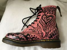Dr Martens UK 3 pink and black unique ankle boots made in England good DMs EU | eBay
