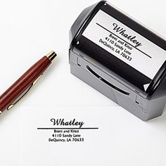 Create a professional executive gift with the Personalized Self-Inking Return Address Stamper - Alberta Design. Find the best personalized office gifts at PersonalizationMall.com