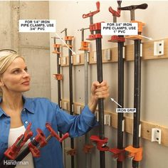 PVC Pipe Clamp Rack - Are your pipe clamps missing in action right when you need them? Never again, thanks to this slick snap-in, snap-out storage rack, made from PVC pipe. For 1/2-in.-diameter iron pipe, use 3/4-in. PVC, and for 3/4-in.-diameter pipe use 1-in. PVC.To make the rack, cut 2-in. lengths of PVC, and with a hacksaw or band saw, slice them lengthwise about 3/16 in. past the diameter's center line. This creates the gripping action to firmly hold the heavy iron pipe. Drill and…