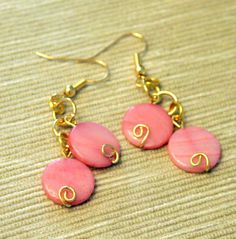 Beautiful pink shell dangles @21W Statement Jewelry # statement jewelry $14.00
