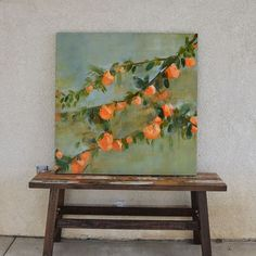 Or maybe she is looking out her kitchen window standing over the sink full of hot, soapy water… looking at her orange tree. 36 x 36 Painting Inspiration, Art Inspo, Dog Canvas Painting, Beige Art, Mini Canvas Art, Aesthetic Painting, Disney Art, Cute Art, Illustration Art