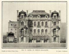 Elevation of the Hotel du Prince Bonaparte, Paris Parisian Architecture, Neoclassical Architecture, Classic Architecture, Commercial Architecture, Historical Architecture, Beautiful Architecture, Architecture Blueprints, Architecture Mapping, Temple Architecture
