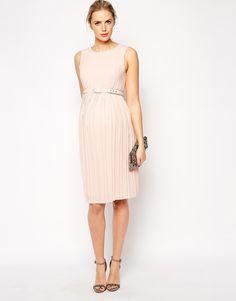 Image 4 ofASOS Maternity Midi Skater Dress with Pleated Skirt and Belt