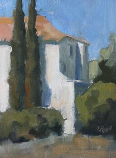 Villa with Cypress by Lesley Powell