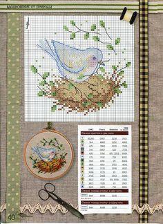 Bird on a nest | Cross Stitch | Pinterest